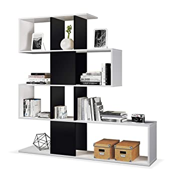 Habitdesign 1T2251BO - Estanteria Zig Zag, acabado blanco brillo y negro brillo, medidas 145 x 145 x 30 cm