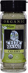 Gourmet Celtic Sea Salt Organic Celery Seasoned Salt Blend – Classic Celery Salt Adds Bold Herb Flavor to a Variety of Dishes, Hand Crafted and Organic, 3.7 Ounces