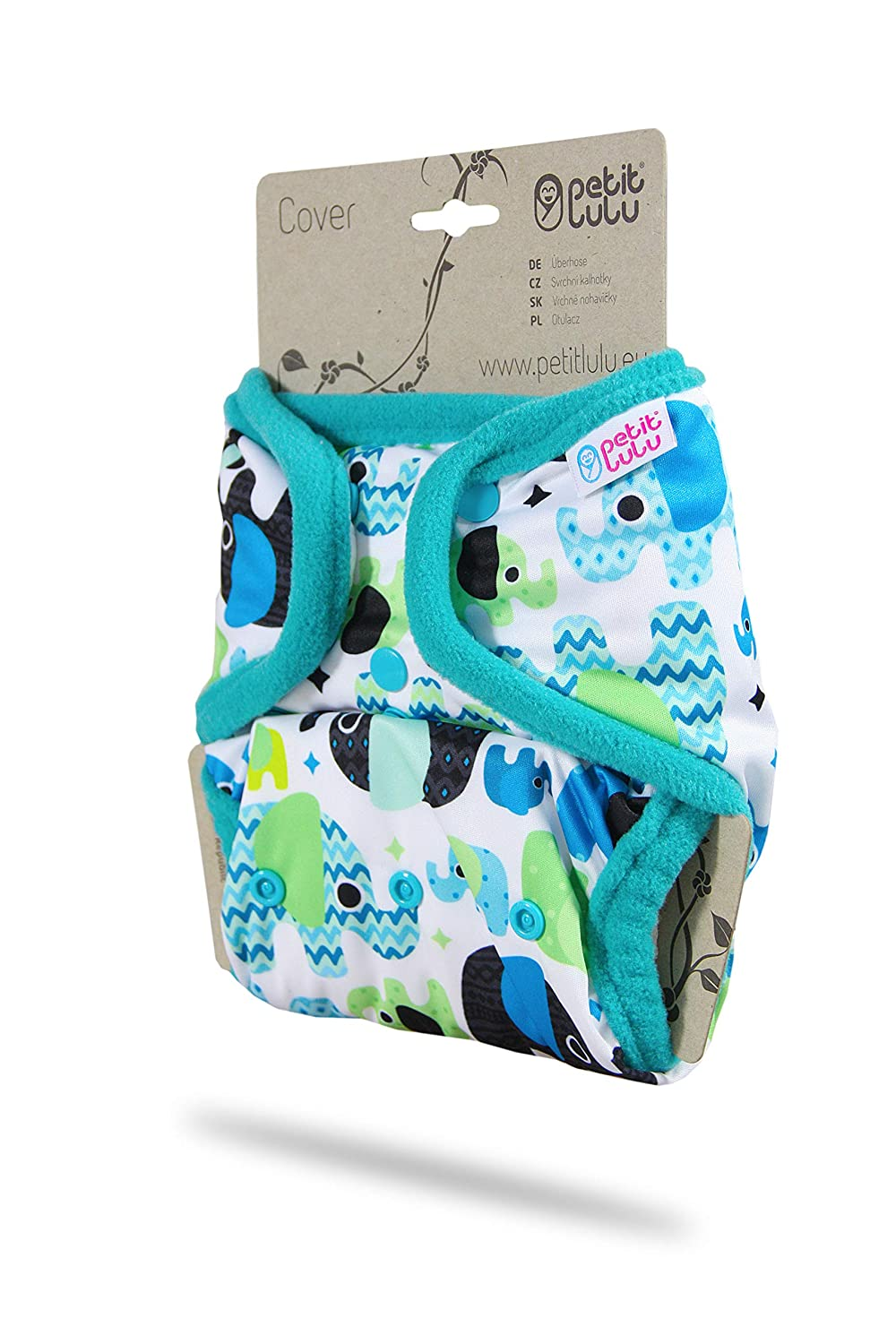 White Made in Europe Cloth Nappies Snaps Petit Lulu Cloth Nappy Cover One Size Washable Diaper Wrap
