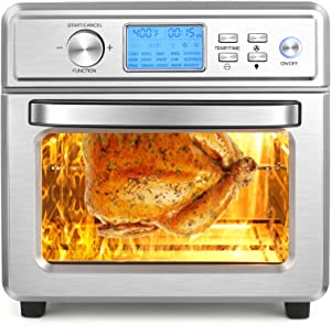 16 in 1 Air Fryer Oven, 21QT Convection Air Fryer Toaster Oven Combo with LED Display & Temperature/Time Dial, 1700W Large Airfryer Oven, Oil Less & Stainless Steel