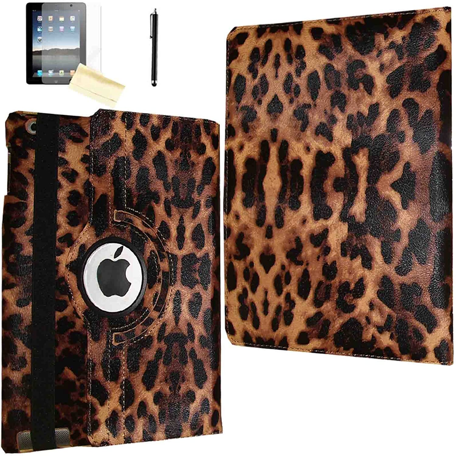 JYtrend Case for iPad Air (2013 Released), (R) Rotating Stand Smart Case Cover Magnetic Auto Wake Up/Sleep for iPad Air (Air 1) A1474 A1475 A1476 (Leopard)