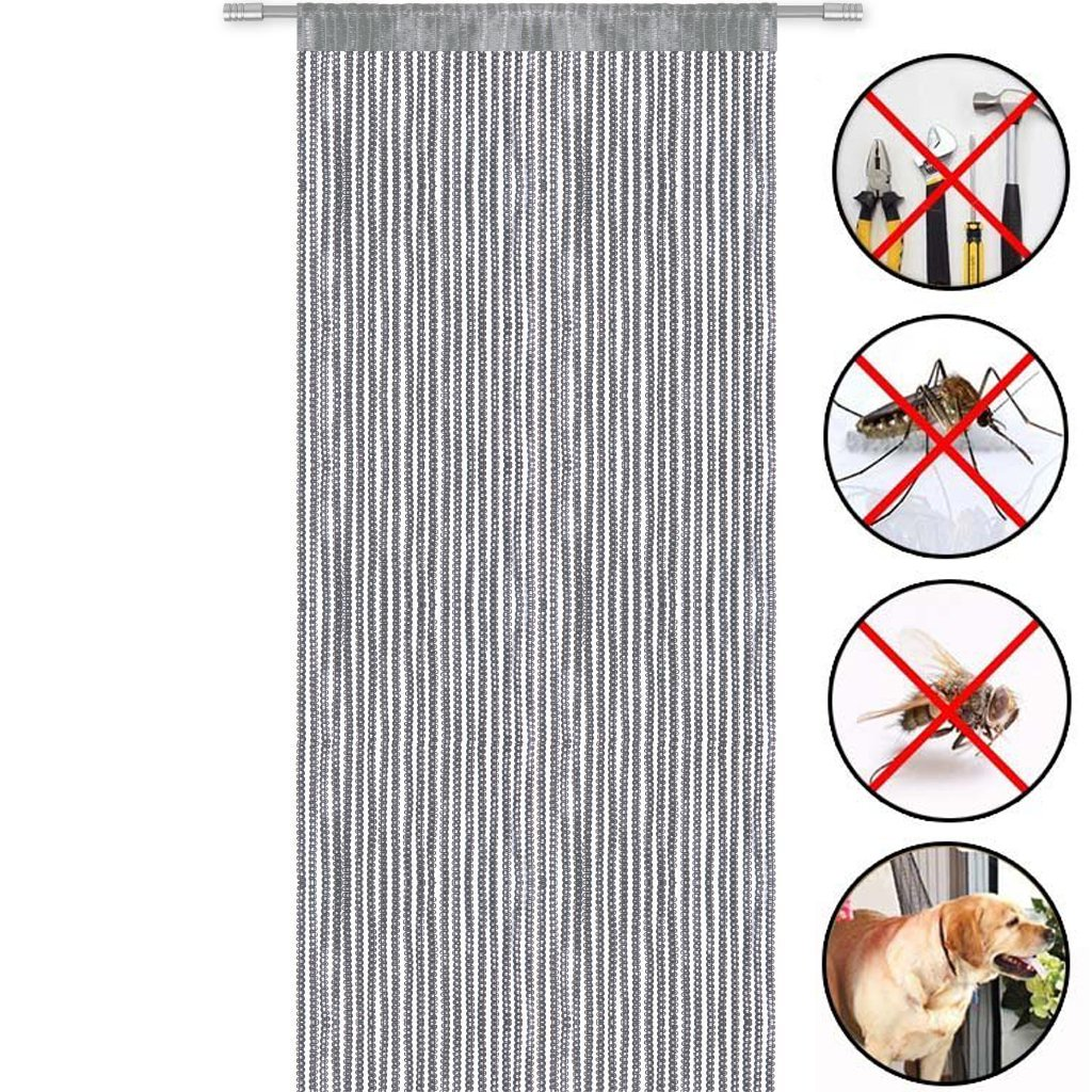 Curtain Door Window Panel Room Decorative Divider Curtain Perfect as Fly Screen(S Curtain) 90x200cm QINGYUN