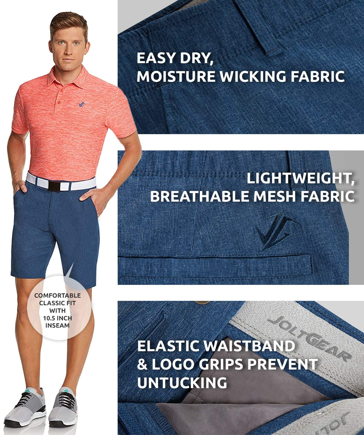 Jolt Gear Dry Fit Golf Shorts for Men – Casual Mens Shorts Moisture Wicking - Men's Chino Shorts with Elastic Waistband by Jolt Gear (Image #7)