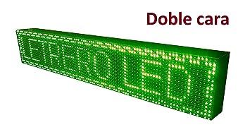 CARTEL LED PROGRAMABLE LETRERO LED PROGRAMABLE PANTALLA LED PROGRAMABLE (96*16 cm doble cara, VERDE) ROTULO LED PROGRAMABLE CARTEL ELECTRÓNICO ANUNCIA ...
