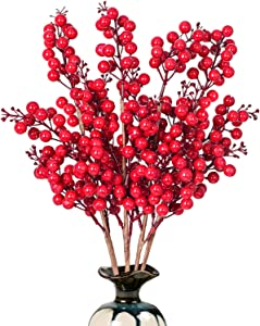 Artiflr 4 Pack Artificial Red Berry Stems Holly Christmas Berries for Festival Holiday Crafts and Home Decor, 19.5 Inches Burgundy Berry Floral Christmas Tree Decorations