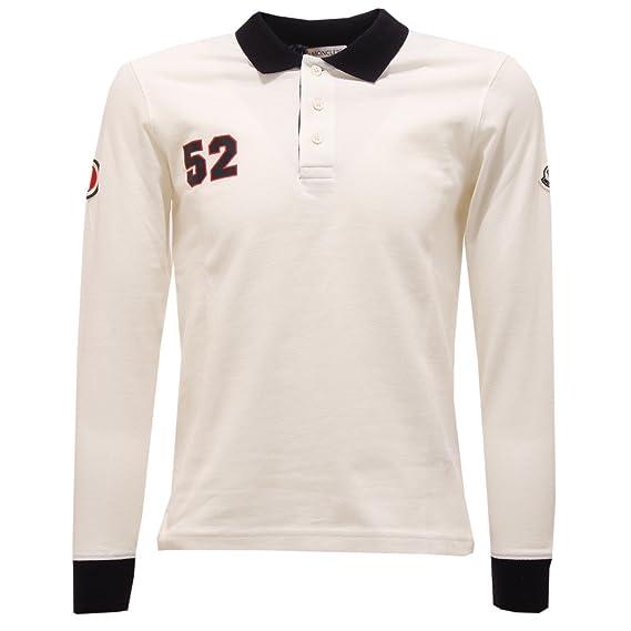 MONCLER 4322T Polo Bimbo Maglia Manica Lunga Bianco t-Shirt Polo ...