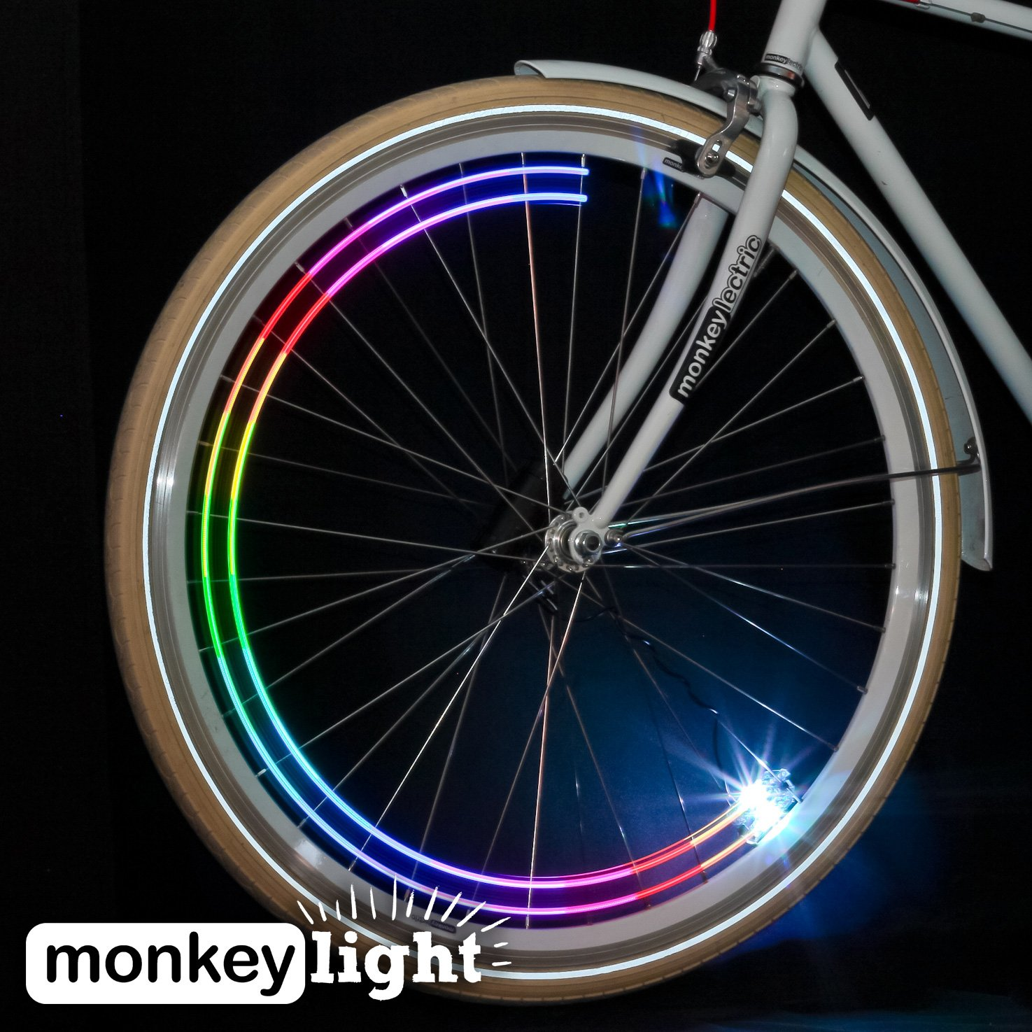 Monkey Light M204 - 40 Lumen, 4 Ultrabright full-color LED Bike Wheel Light - Waterproof ultra-durable