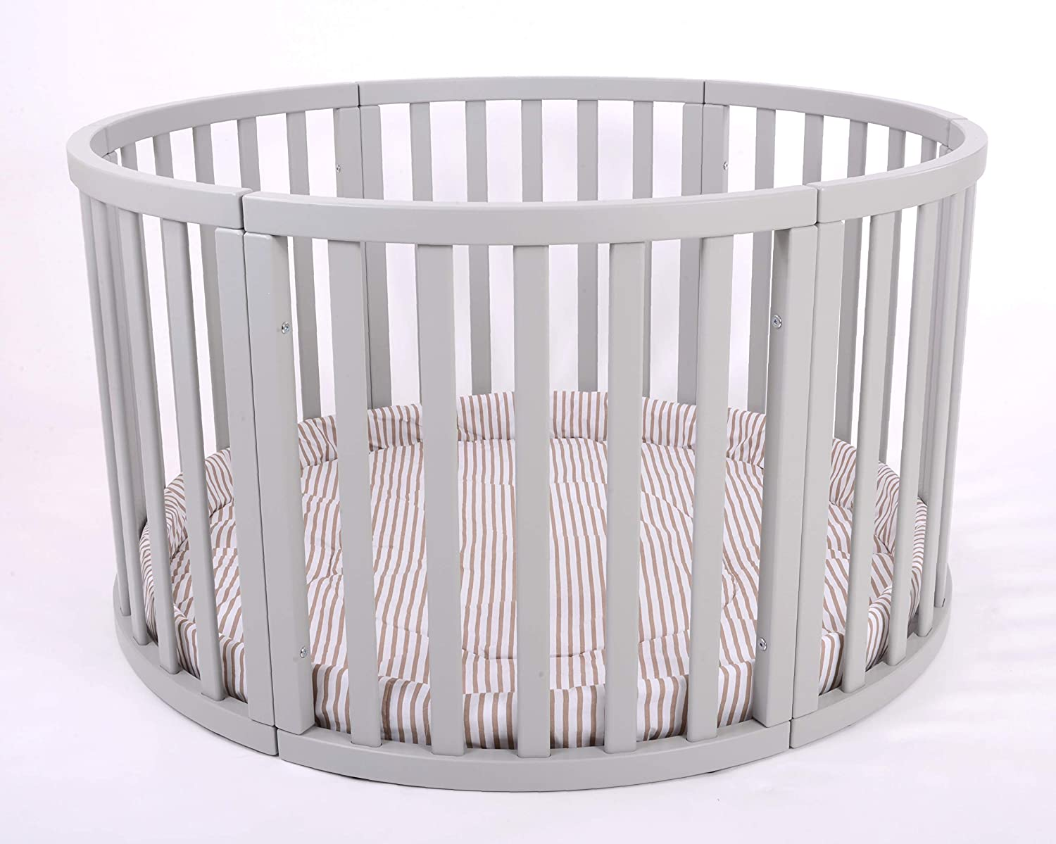 MJmark Round PLAYPEN APOLLO QUATTRO VERY LARGE Wooden play pen with play-mat SALE SALE Pink Gingham
