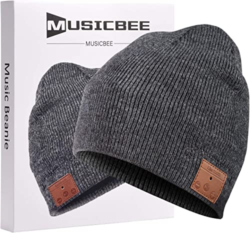 Bluetooth Beanie, MUSICBEE Bluetooth V5.0 Wireless Knit Winter Hats Cap with Detachable Built-in Mic and HD Stereo Speakers,Fleece Lining Suits for Outdoors Family Gift-Unisex Charcoal