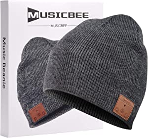 Bluetooth Beanie, MUSICBEE Bluetooth V5.0 Wireless Knit Winter Hats Cap with Detachable Built-in Mic and HD Stereo Speakers,Fleece Lining Suits for Outdoors Family & Gift-Unisex (Charcoal)