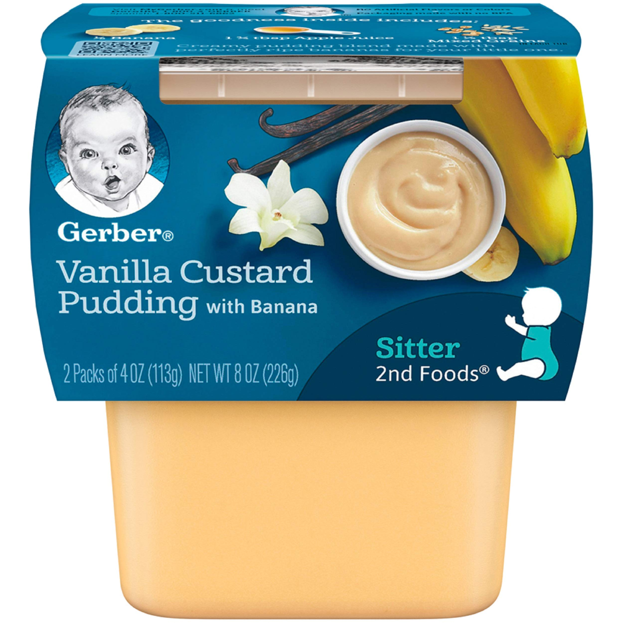 Gerber 2nd Foods Vanilla Custard Pudding With Bananas, 2-Count, 4.0-Ounce Tubs (Pack of 8)