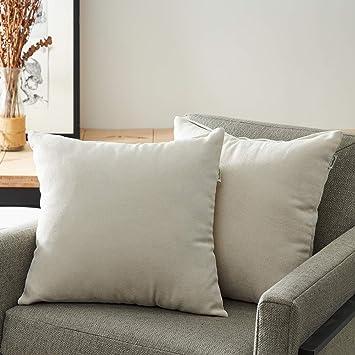 Topfinel juego 2 Fundas cojines sofas de Algodón Lino duradero Almohadas Decorativa de color sólido Para Sala de Estar, sofás, camas, sillas 50x50cm ...