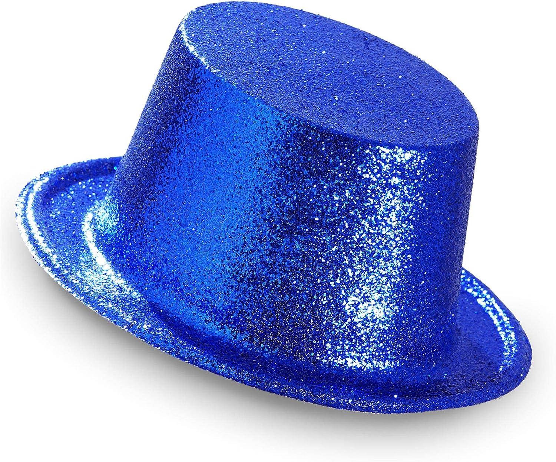 Multicolore taglia unica 28056 WIDMANN- Cilindro Glitter Blu Cappello Adulto