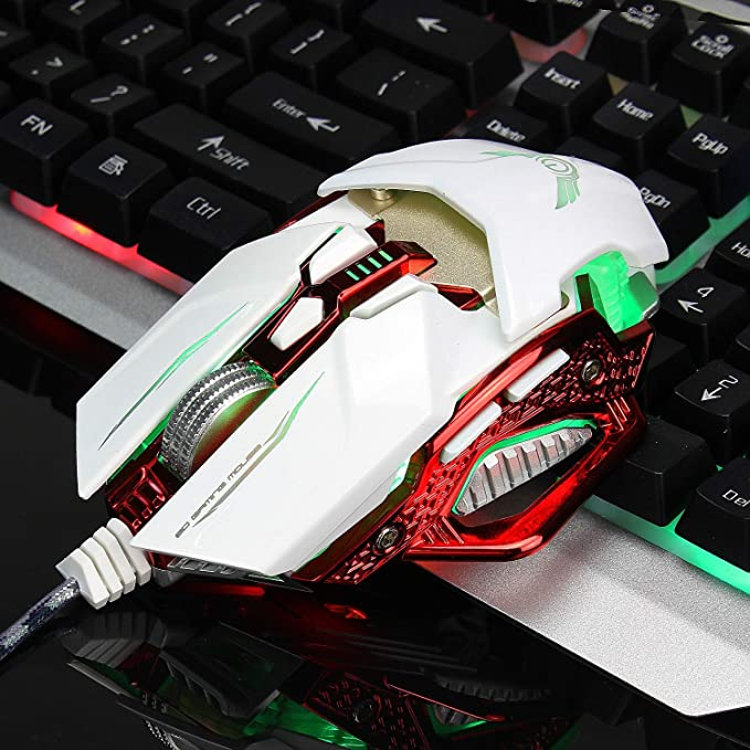 Backlit Gaming Mice Retractable Mouse Gaming Mouse Adjustable 4000DPI 8-Key Macro Program Designed for Office Games