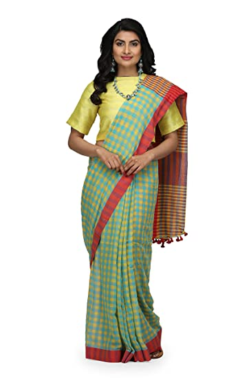 a42336af11 The Weave Traveller Handloom Women's Hand Woven Soft Cotton Gamcha/Checkered  Saree With Attached Blouse: Amazon.in: Clothing & Accessories