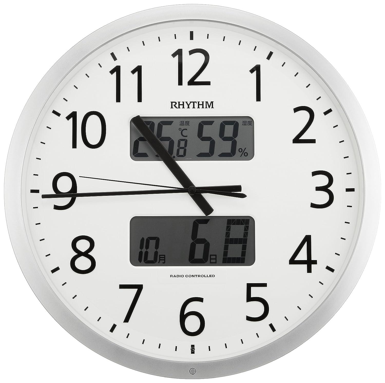 リズム時計 RHYTHM 電波 掛け時計 プログラムカレンダー 403SR シルバーメタリック 色 4FN403SR19 B01B17LUO0