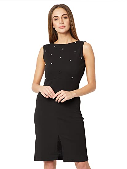 3300a37638f Miss Chase Women s Black Pearl Mini Shift Dress  Amazon.in  Clothing ...