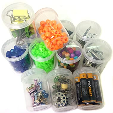 12 Plastic Containers with Rounded Screw-Top Lids - Crafting Beading Sewing Jewelry Organizers