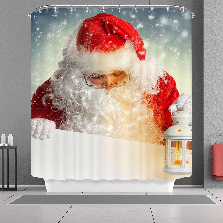 VANCAR Xmas Merry Christmas Day Happy New Year Shower Curtain Christmas Decor White Bear Santa Claus Wearing Glasses Print Decorative Waterproof Bathroom Shower Curtain for Christmas Day 66X72