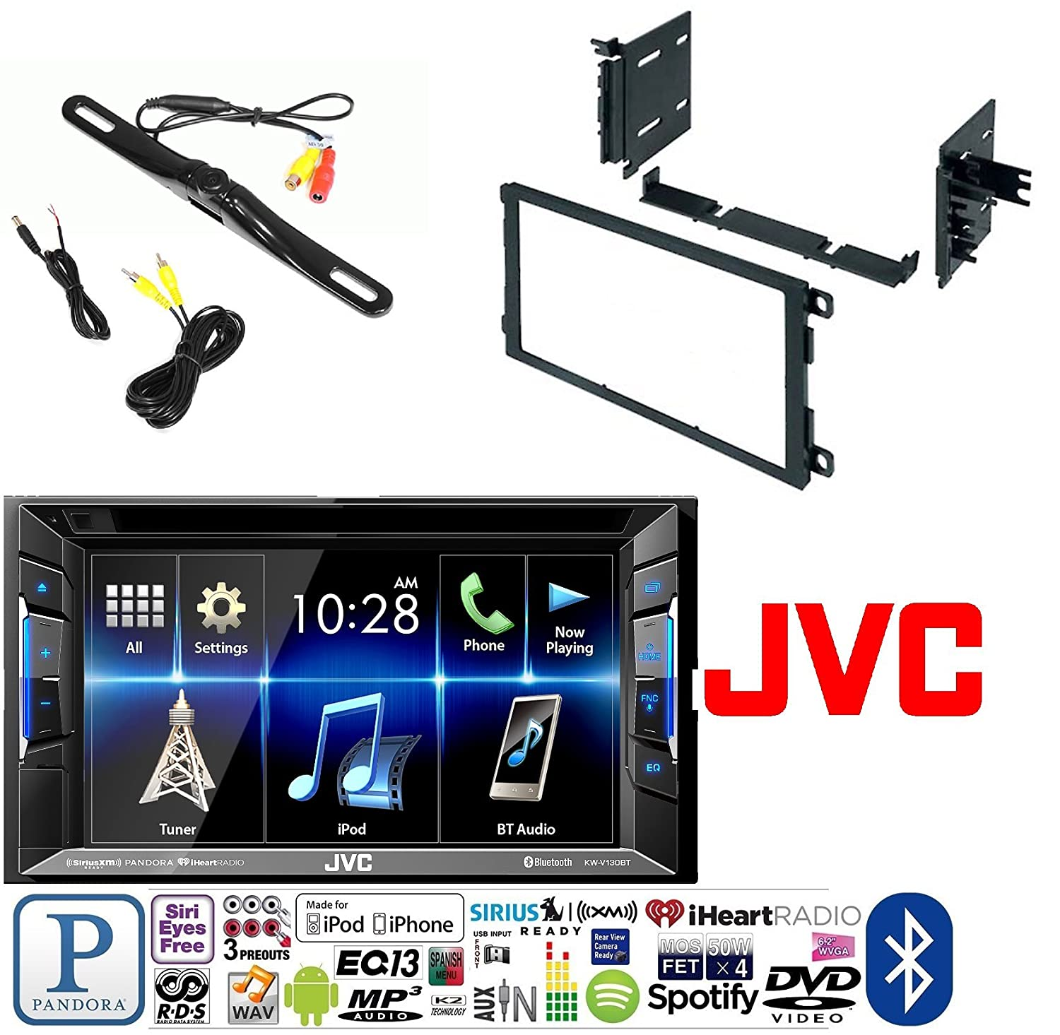 Jvc Kw V130bt Double Din Bluetooth In Dash Dvd Cd Am Fm Chevy Sonic Stereo Wiring Diagram Chimes And Speakers Not Working Car W 2001 2012 Silverado Tahoe Suburban 2 Kit Rear View