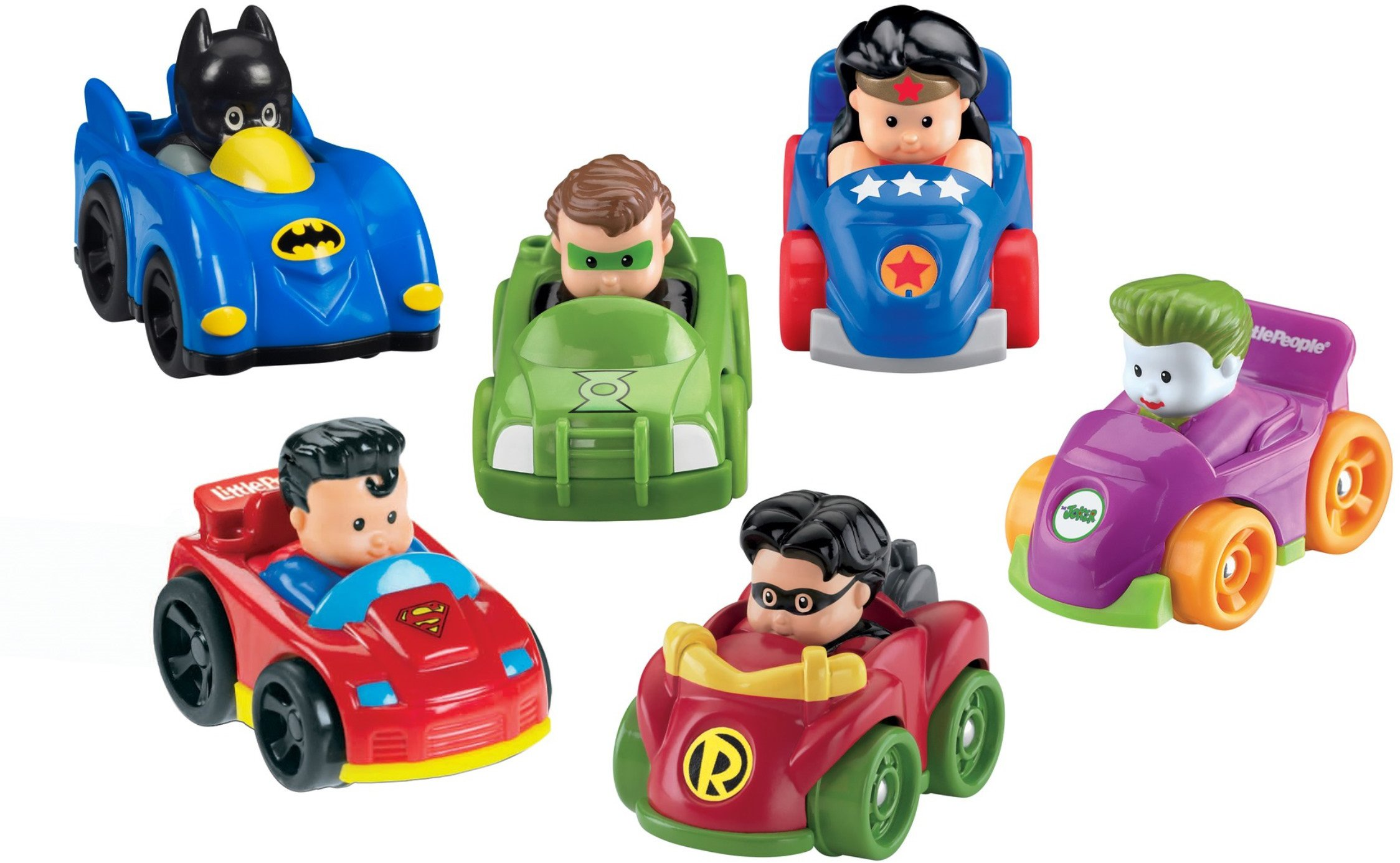Fisher-Price Little People DC Super Friends, Wheelies Gift Set (6 Pack) [Amazon Exclusive] by Fisher-Price