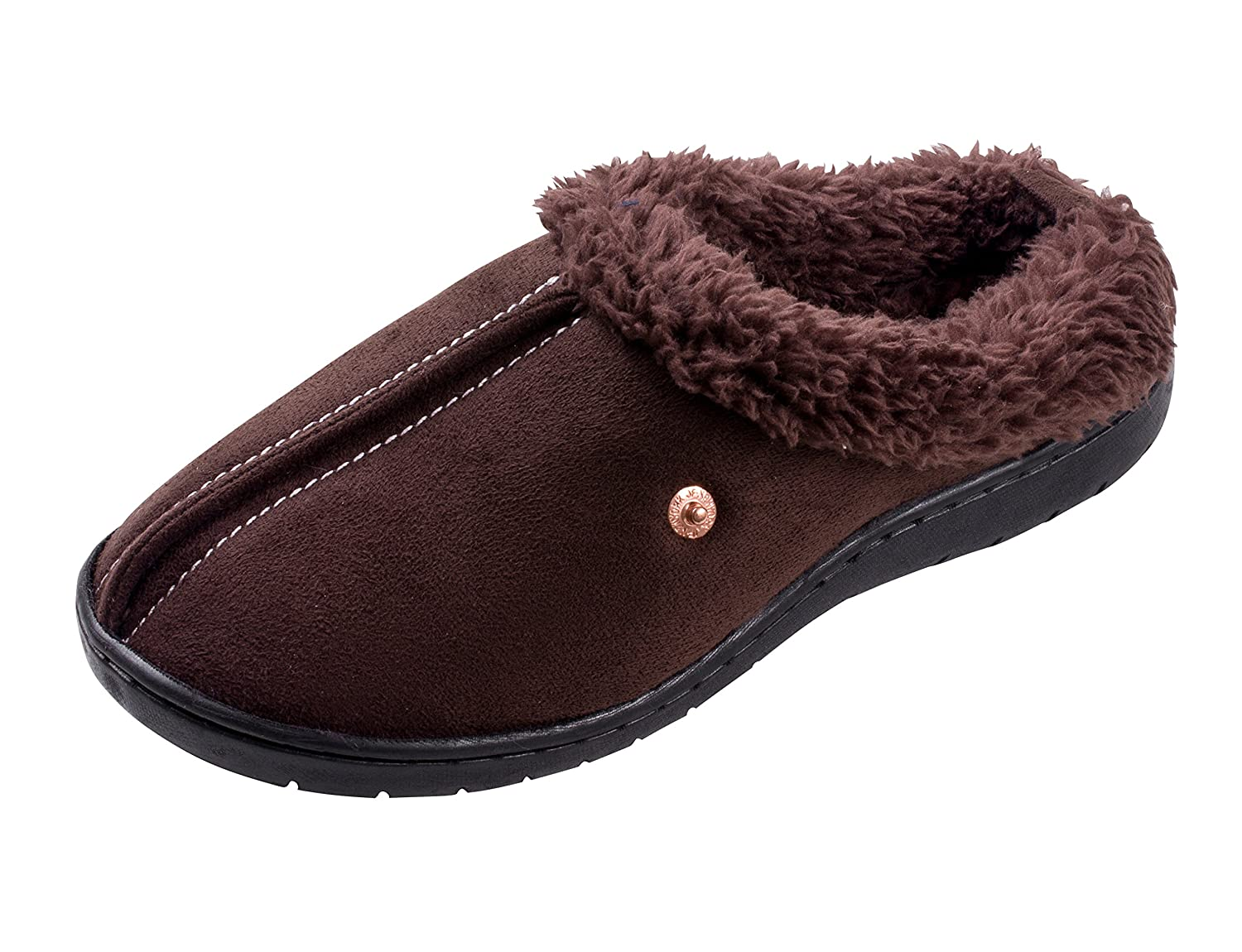 Beyond boys Boys Stitched Faux Suede, Fleece Lined Clog Slippers