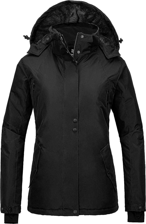 Wantdo Women's Waterproof Ski Jacket Mountain Rain Jacket Warm Hooded Snow Coat