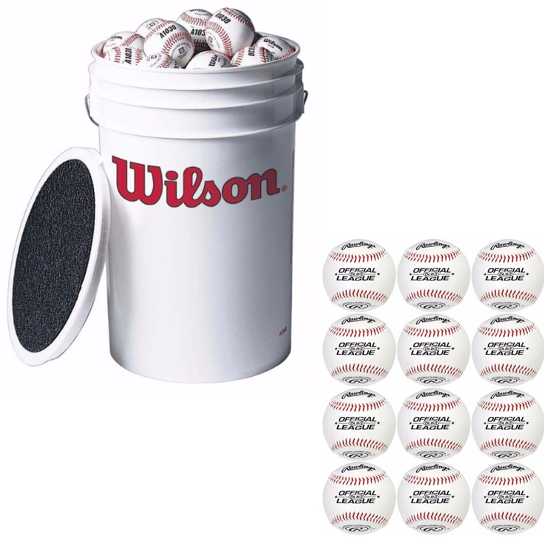 Wilson A1030 3-Dozen Bucket of Baseballs +EXTRA 12 RAWLINGS OLB3BT24 Baseball by Wilson