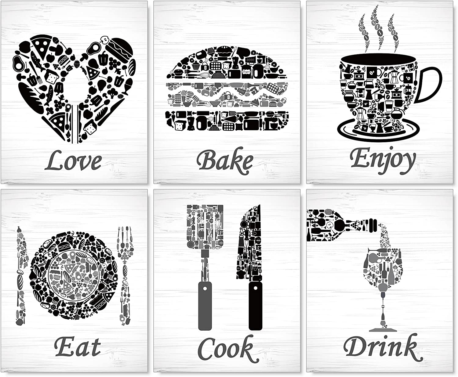 """Kitchen Wall Decorations Red Wall Art PaintingPoster Prints for Home,Vintage Kitchen Dining Room Wall Art Decor Eat Drink Coffee Prints Posters Signs Setsfor Home Country Farmhouse, 8"""" x 10"""",Unframed,Black"""
