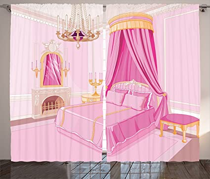 Girls Curtains Teen Decor Curtains Pink Interior Of Magic Princess Bedroom  Old Fashion Ornament Pillow Lamp