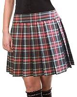 Black and Red Schoolgirl Tartan Plaid Pleated Long Skirt Highland18