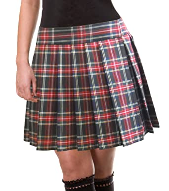 Red and Black Schoolgirl Tartan Plaid Pleated Skirt Junior Long ...