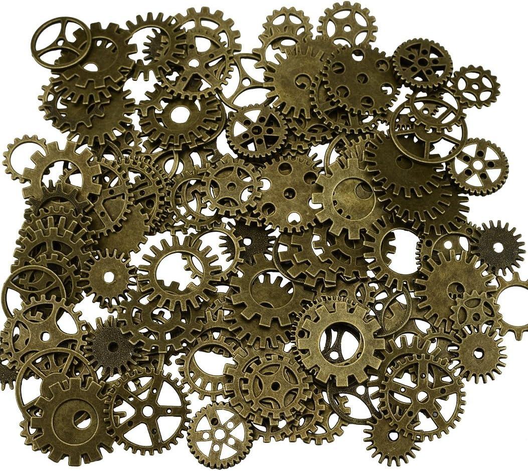 200 gramos surtidos de metal de bronce steampunk fabricación de joyas encantos Cog reloj rueda (200Gram, Bronce)