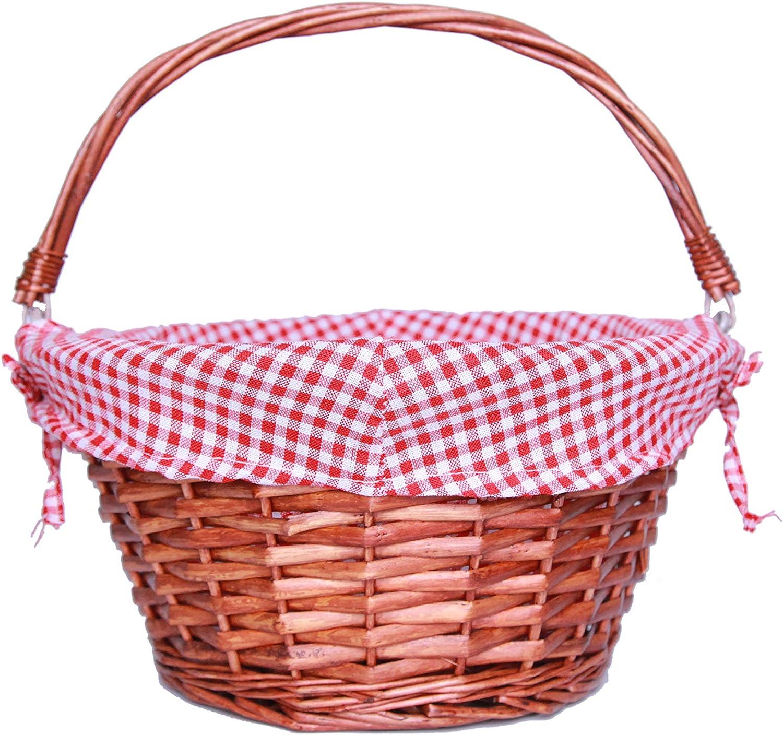 KRZIL Oypeip Wicker Basket Gift Baskets Empty Round Willow Woven Picnic Basket Easter Candy Basket Storage Basket Wine Basket with Handle Egg Gathering Wedding Basket (Auburen)