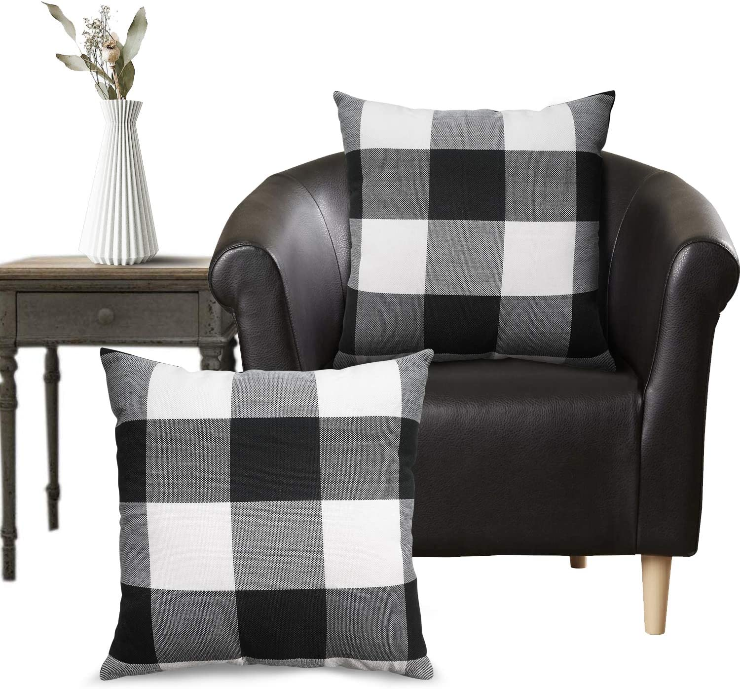 WENDE Plaid Throw Pillow Covers - Buffalo Plaid Pillow Covers 18x18, Black and White Pillow Cover for Farmhouse Home Decor and Christmas Decorations, Set of 2