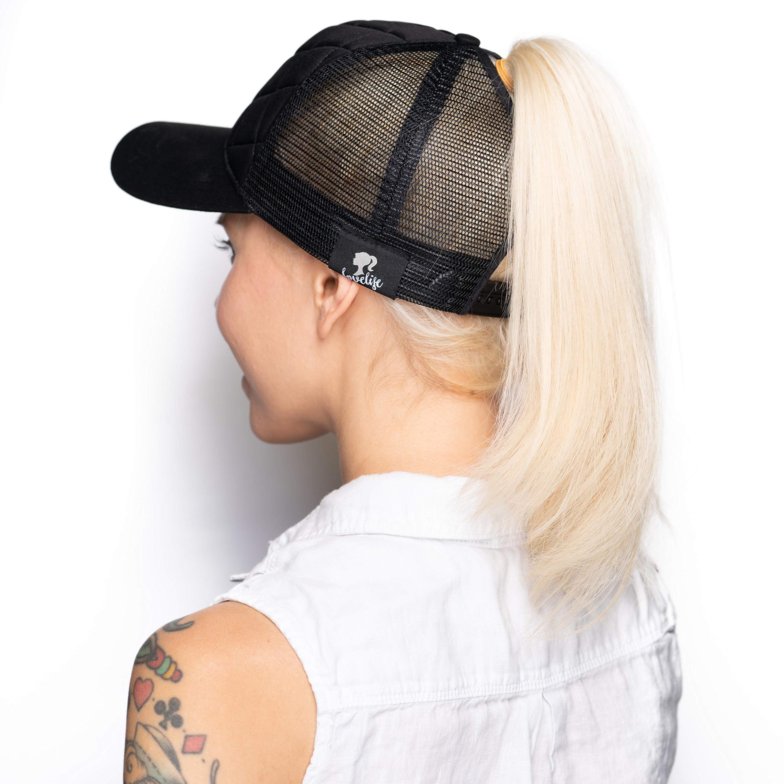 LoveLife Quilted Ponytail Baseball Hats (Black)