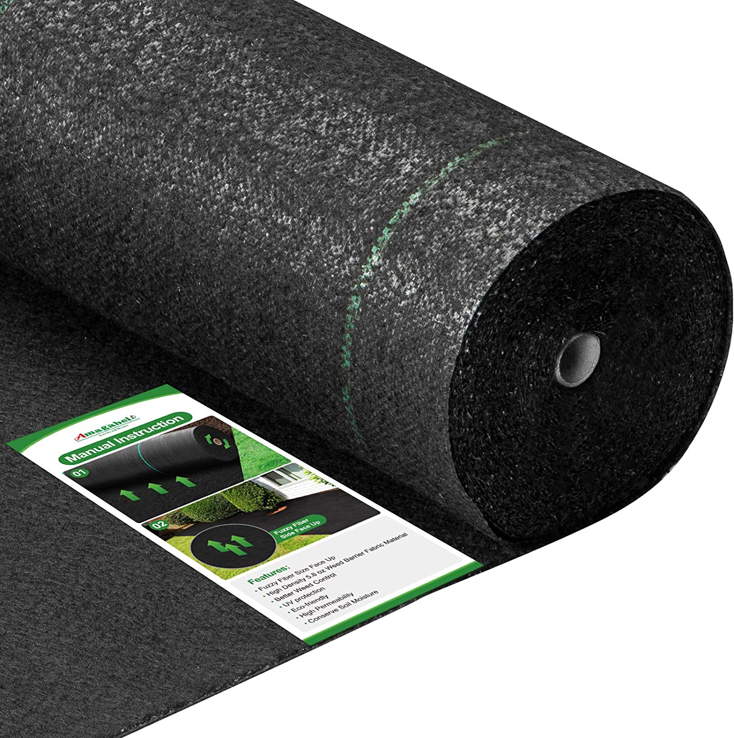 Amagabeli 5.8oz 5x300ft Weed Barrier Landscape Fabric Heavy Duty Ground Cover Weed Cloth Geotextile Fabric Durable Driveway Cover Garden Lawn Fabric Outdoor Weed Mat