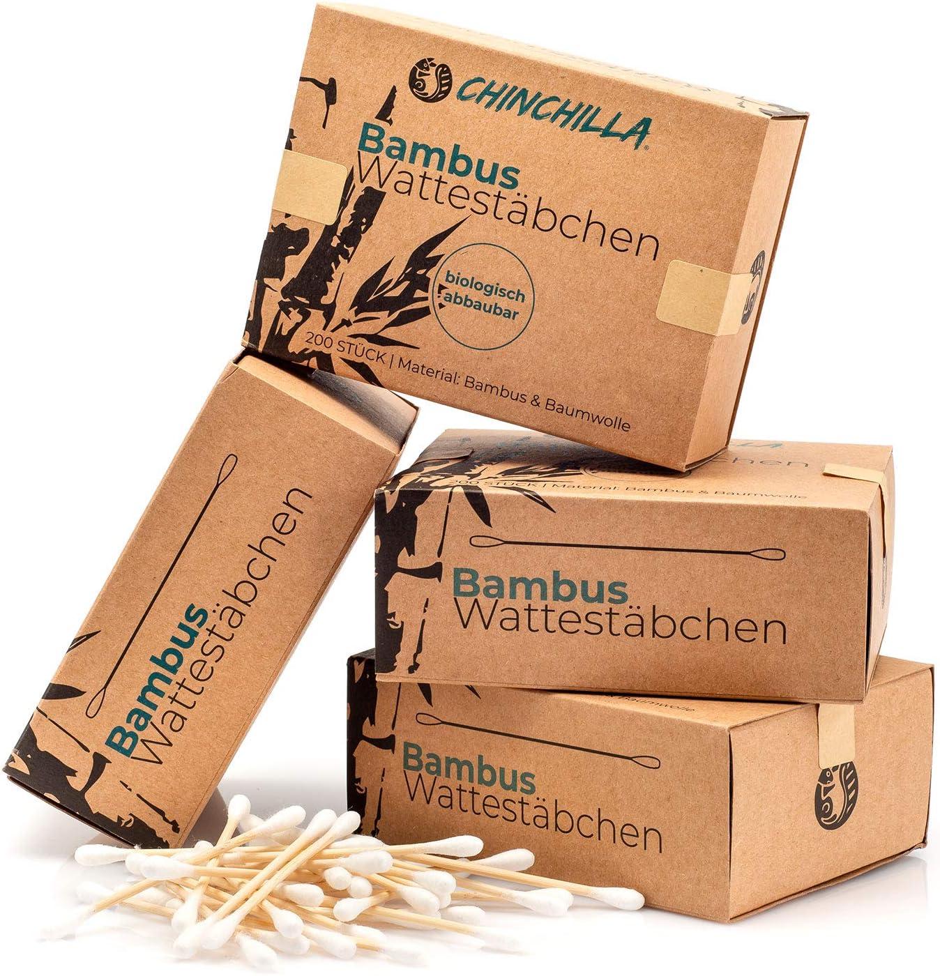 Chinchilla® 4-pack Bambú bastoncillos de algodón (800 piezas) 100 ...