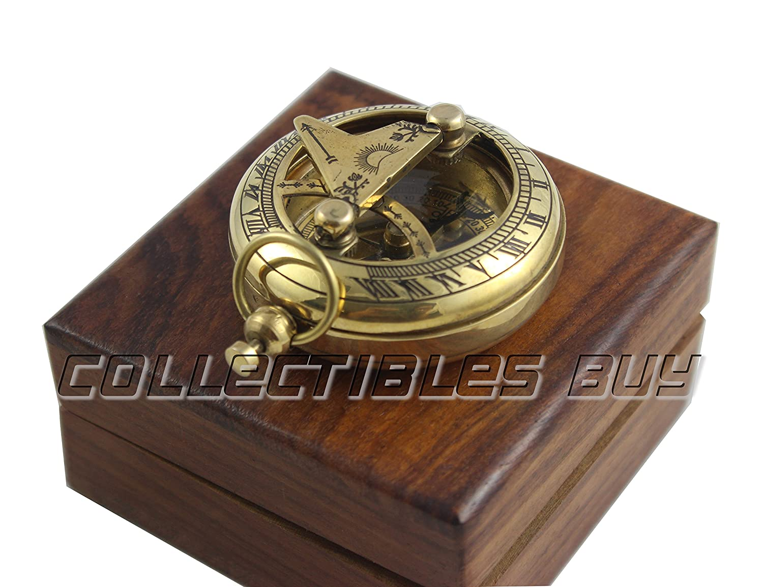 Marine Sundial Compass With Nautical Solid Wooden Box Vintage Brass Ship Navigate Device Nautical Gift Collection Collectibles Buy
