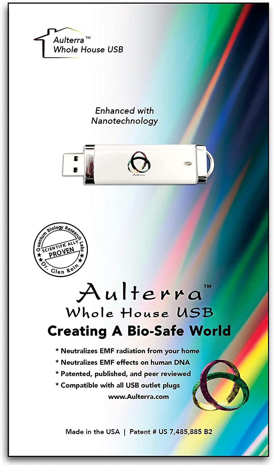 Aulterra EMF Home Protection Anti Radiation USB for Whole House Protection to Neutralize Harmful Incoherent EMF Frequencies Including 5G