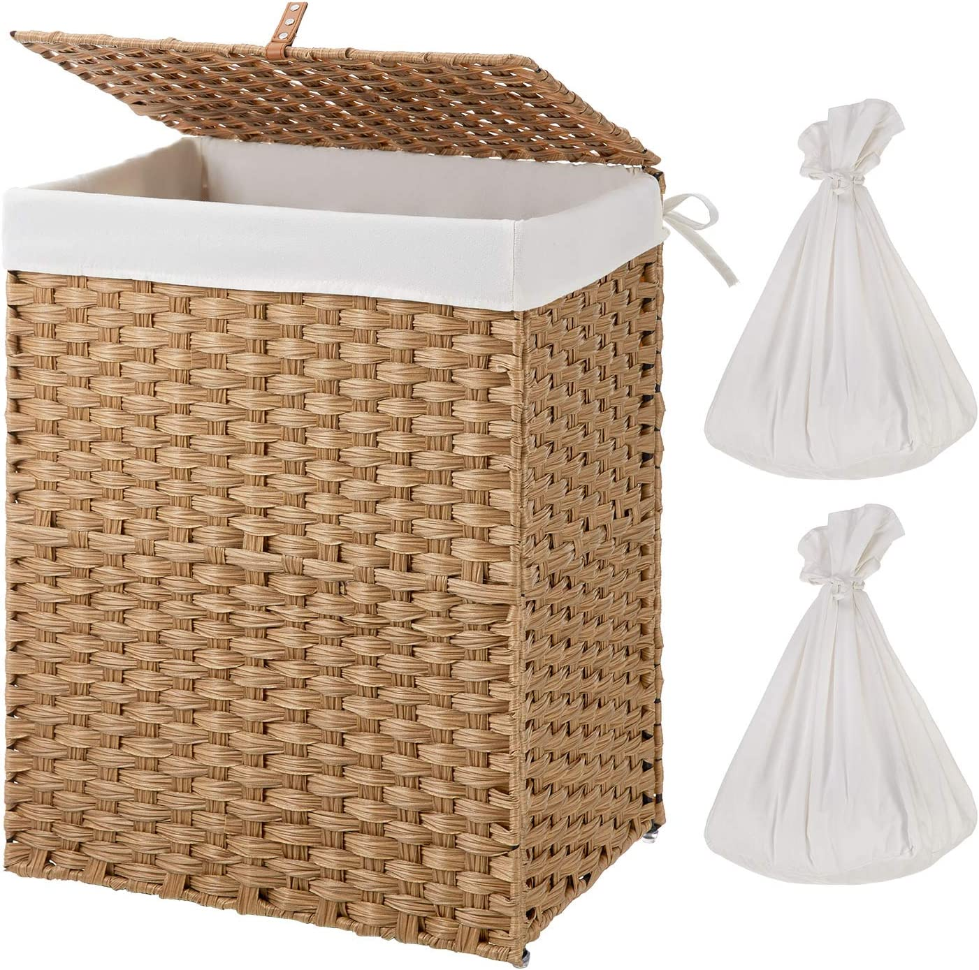 Greenstell Handwoven Laundry Hamper with 2 Removable Liner Bag, Synthetic Rattan Laundry Basket with Lid and Handles, Foldable and Easy to Install Natural (Standard Size)