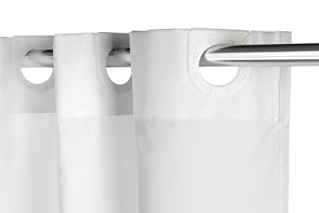 Croydex Hookless Textile White Shower Curtain No Rings Required