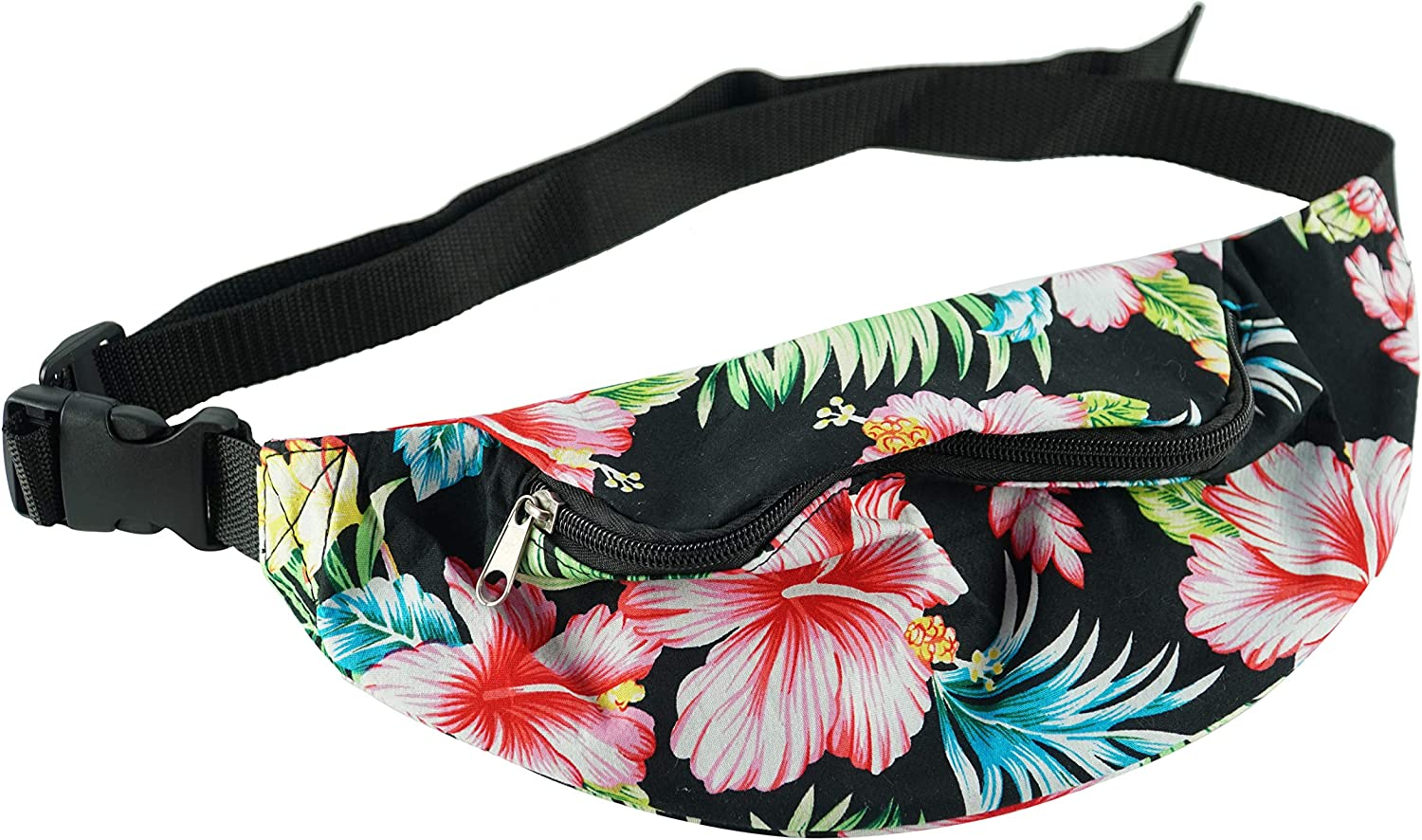Home-X Floral Fanny Pack, Running Belt, Versatile Bum Bag with 1 Zipper Pocket