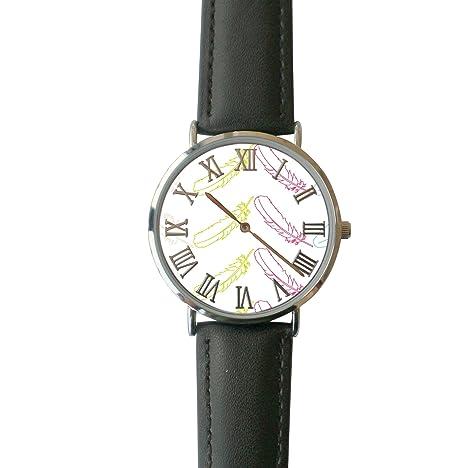 ERT8OII Reloj de Pulsera con Plumas Chevron Rainbow Números Romanos Personalizados Reloj de Cuarzo Reloj de