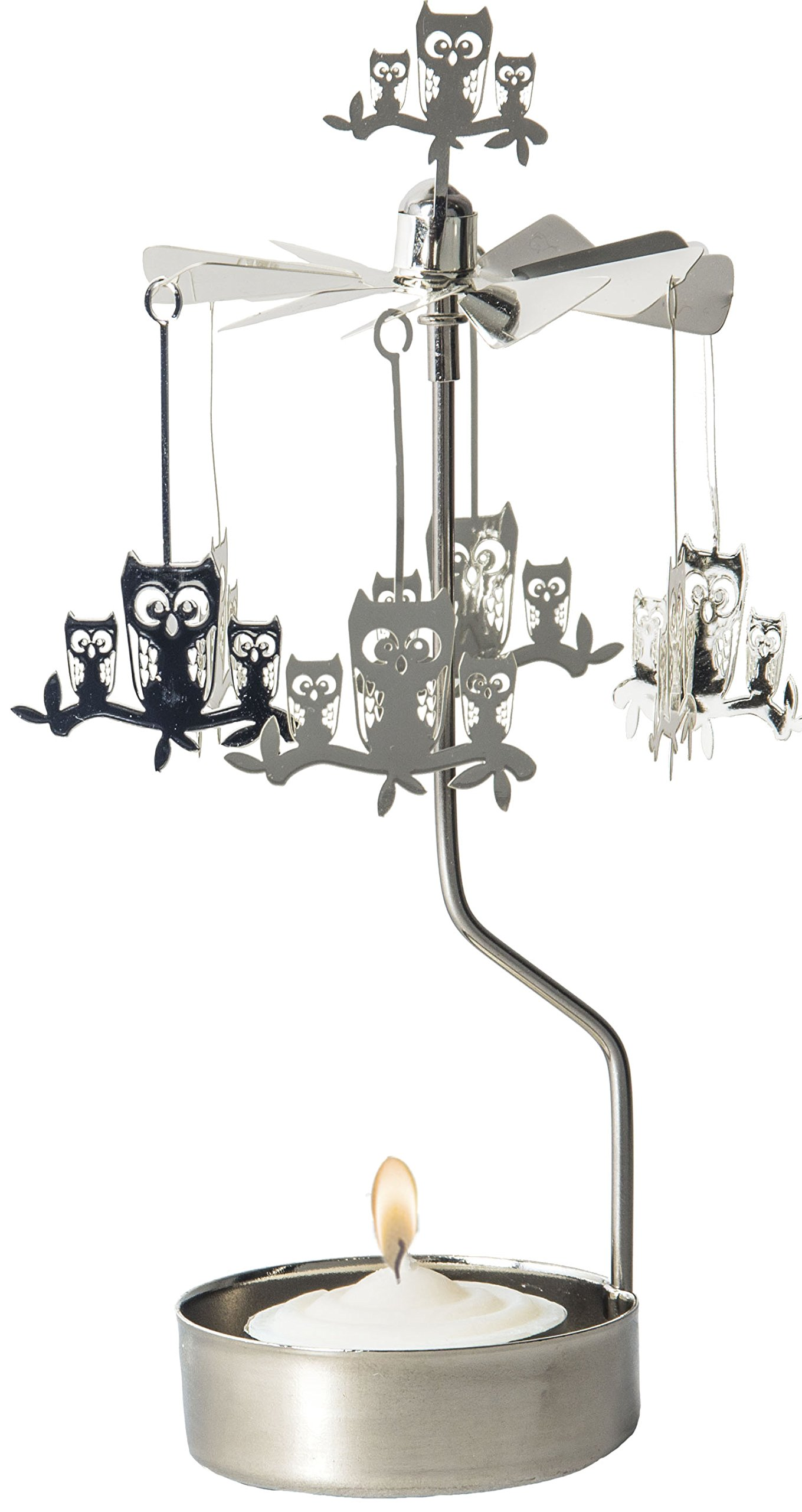 Owls on a Branch Rotary Candle Holder