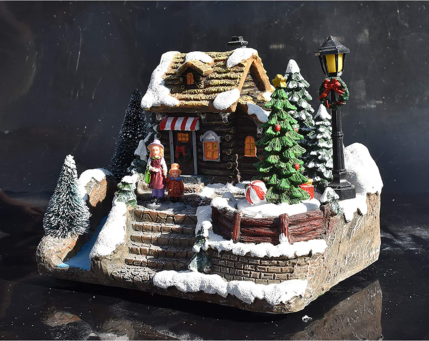 Town Village Resin Christmas Ornament Decoration Snow House Villlage with Santa Claus and Musical Moving LED Light-Driven Lighting Christmas Resin