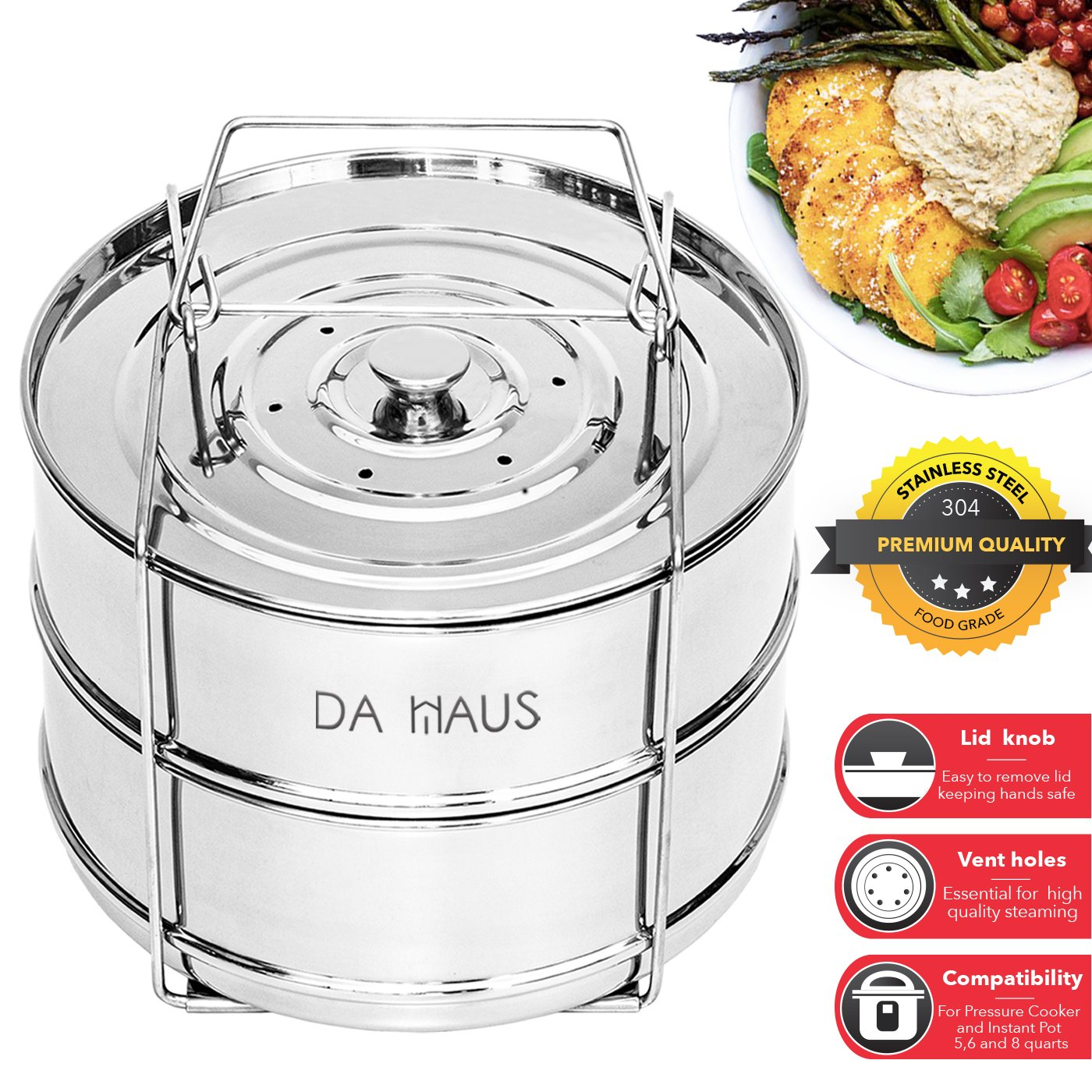 Da Haus Stackable Steamer Insert Pans - Instant Pot Insert 6 qt, 8 qt and 5 qt Insert Pans for Pressure Cooker. Instant Pot Stackable Pans S1