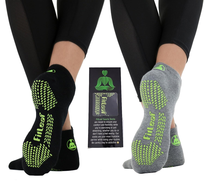 FITLEAF Yoga Socks for Women – Non Slip Socks with Grip for Pilates, Ballet, Barre – 2 Pairs