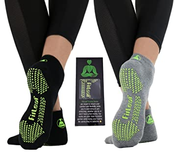 fitleaf bambú Calcetines de Yoga - Antideslizante Agarre para Pilates Barre, Danza - 2 Pares, Regular Black and Gray: Amazon.es: Deportes y aire libre