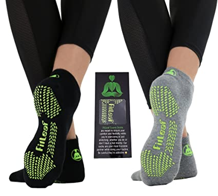 fitleaf bambú Calcetines de Yoga – Antideslizante Agarre para Pilates Barre, Danza – 2 Pares